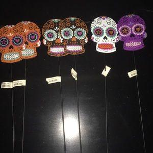 Sugar Skulls Lawn Picks Halloween Decoration
